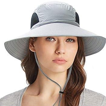 Ordenado Waterproof Sun Hat Outdoor UV Protection Bucket Mesh Boonie Hat Adjustable Fishing Cap Grey