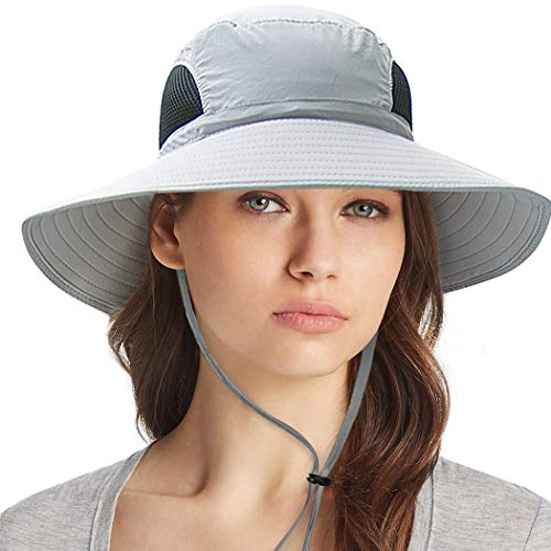 Ordenado Waterproof Sun Hat Outdoor UV Protection Bucket Mesh Boonie Hat Adjustable Fishing Cap Grey