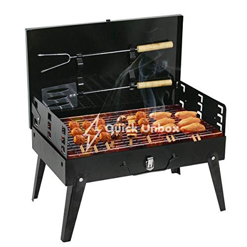QUICK UNBOX Foldable Charcoal Barbeque Grill Portable BBQ Tandoor Griller for Outdoor Picnic, Camping, and Travelling