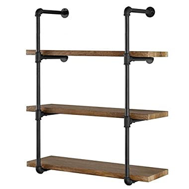 Yuanshikj 2Pc (42  Tall) (12 deep) Industrial Wall Mount Iron Pipe Shelf Shelves Shelving Bracket Vintage Retro Black DIY Open Bookshelf DIY Storage Home Improvement Kitchen (2 Pcs 4Tier)