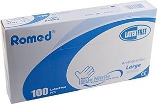 100x Guantes desechables sin polvo nitrilo de Romed ref: nt800-20 hypo-alergénico - small 6-7