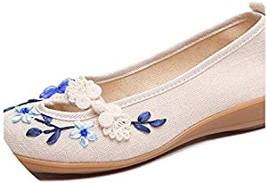 Women Linen Slip on Ballet Flats Breathable Fabric Ladies Casual Chinese Shoes Ballerina