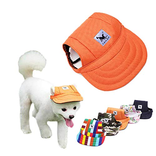 Petea Dog Hat Pet Baseball Cap Dogs Sport Hat Visor Cap with Ear Holes and Chin Strap for Dogs and Cats 4 Sizes 5 Colors (Orange, M)