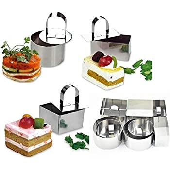 HULISEN 3 x 3 inch Square Dessert Mousse Mold with Pusher /& Lifter Cooking Rings 0401 10 Pcs//Set Stainless Steel Cake Ring