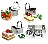 NewlineNY Stainless Steel Dessert Rings (12 Pcs) Round Square Rectangular Appetizers Molded Salads, Cakes Mousse Molding Layering Cake Cutter