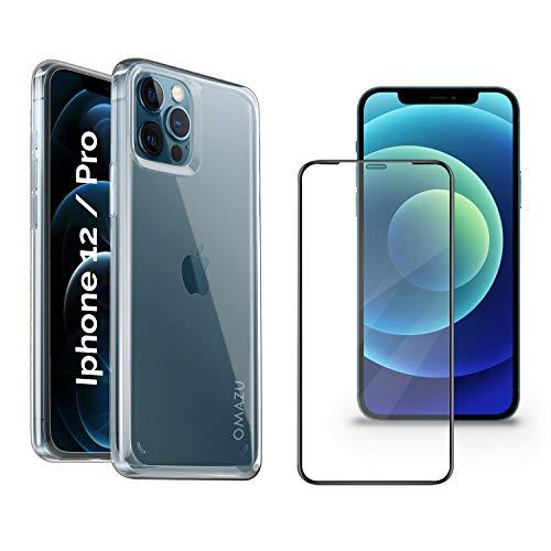 """OMAZU Hybrid PC/TPU Shock Hülle Kompatibel iPhone 12/12 Pro 6.1"""" Zoll mit 1 Stück 3D Japanische 9H HD Panzerglas Schutzfolie volle randlose Abdeckung, Schablone-Installationshilfe"""