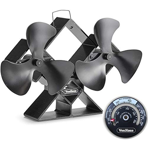 VonHaus 6-Blade Twin Motor Double Heat Powered Wood Stove Fan