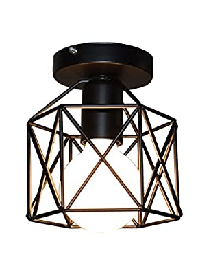 Industrial Vintage Style Ceiling Light, Lumans Edison Hanging Caged Pendant Light Fixture (Solid Black)