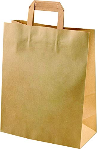 kgpack 25x Bolsas de Papel Kraft DIY con Asa 33 x 28 x 12 cm