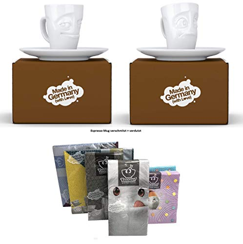 Fiftyeight Espressotassen Espresso Mug 2er Set + SERVIETTEN, 80 ml, VERSCHMITZT+VERDUTZT E Mugs 2