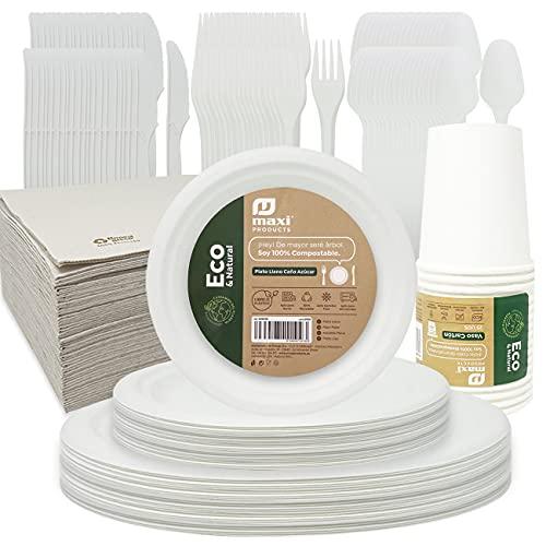 Eco Natural Vajilla Desechable Biodegradable,Plato Redondo Blanco Caña de Azúcar,Vaso Cartón,Servilleta Doble Capa y Cubierto Reutilizable,Reciclable Compostable y Resistente,175pcs