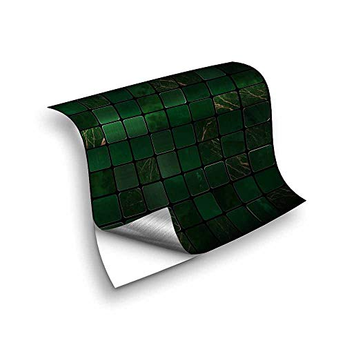 Hiseng 25 Piezas Adhesivos Decorativos para Azulejos Pegatinas para Baldosas del Baño/Cocina Estilo de Mosaico de Metal Resistente al Agua Pegatina de Pared (10x10cm,Metal Esmeralda)
