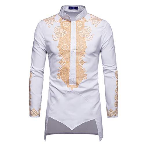 Janjunsi Hombres Camisas Musulmanas de Oriente Medio, Camisas de Bronce de Manga Larga de Abaya Islámica Árabe Robe Ropa Étnico