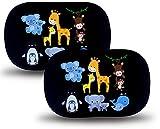 HECKBO® Parasol autoadhesivo para coche - protección solar para niños (2 piezas) | Animales bebés con momia | protección solar para ventanillas de coche | 48x31cm | parasol para coche con bolsa incl