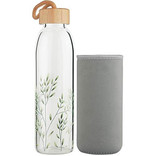 Ferexer Botella de Agua de Cristal Botella de Vidrio de Borosilicato con Tapa de Bambú y Funda de Neopreno 500 ML