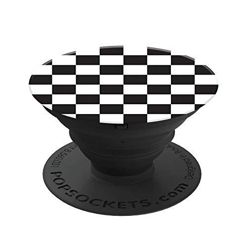 PopSockets PopGrip - [Nicht Austauschbarer] Ausziehbarer Sockel und Griff für Smartphones and Tablets - Checker Black