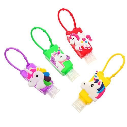 Luxshiny 4 Sätze Kinder Reiseflaschen Schlüsselanhänger mit Silikon Einhorn Hülle Weihnachten Mitgebsel Plastik Flip Cap Flasche Leere Seifenspender Shampoo Handgel Duschgel Reisebehälter