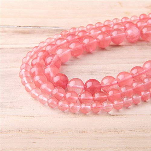 YXHUI 15.5' Red Watermelon Stone Bead 4 mm 6 mm 8 mm 10 mm 12 mm Wholesale Polished Rose Tourmaline Round Beads For DIY Making Jewelry