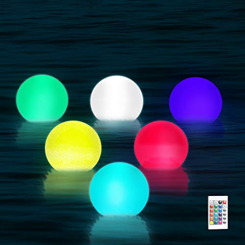 WHATOOK Floating Pool Lights,16 Color Changing Remote Led Ball Light IP68 Waterproof Bath Toys,Replaceable Battery Hot Tub Glow Night Lights for Swimming Pool,Garden,Wedding Decor 6Pack