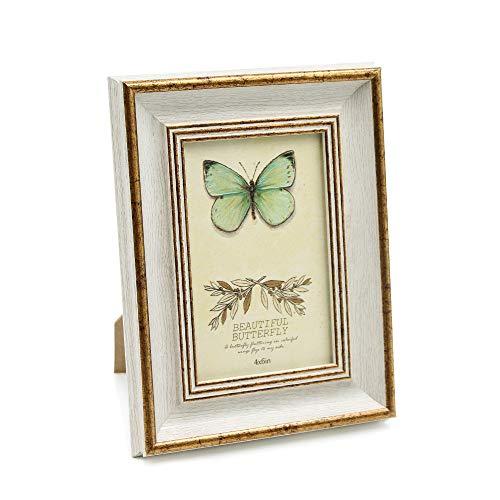 Afuly Marco de fotos vintage de 5 x 7 cm, color blanco y dorado envejecido para colgar en la pared, regalo de boda para parejas