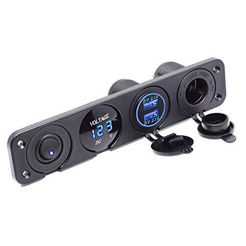 no-branded Enchufe el Cargador 12v Panel Interruptor 24v 2.1A Dual USB for Coche del Barco de Freno Coche RV ATV Barco Car Styling Accesorios del Coche ZHQHYQHHX (Color : Azul, Size : Gratis)