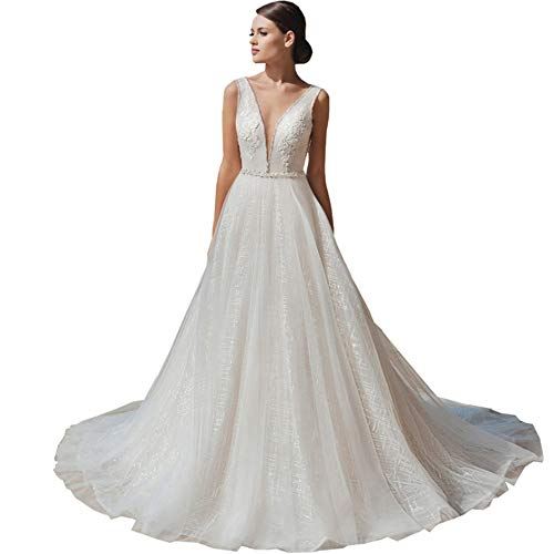 Bröllopsklänningar för brud, kvinnor lång aftonklänning, elfenbensvit brudklänning, elfenbensfärgad, L: 88 x 70