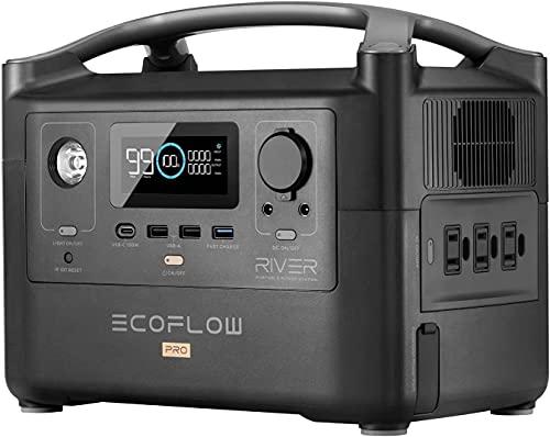 EF EcoFlow(エコフロー) ポータブル電源 RIVER Pro 720Wh 出力600W(瞬間最大1200W) X-Boost機能付き 1.6時間フル充電 家庭用 アウトドア用 バックアップ電源 車中泊 アウトドア キャンプ 地震停電対応 防災グッ