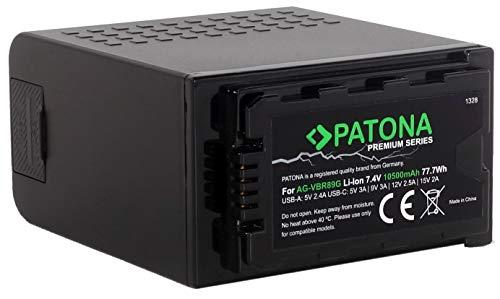 PATONA Premium Ersatz für Profi Akku Panasonic AG-VBR89 G (LG-Cells 10500mAh) - Powerbank (USB Ausgang) - USB-C Eingang - AG-DVX200 AG-UX90 AJ-PX270 AJ-PG50 AU-EVA1