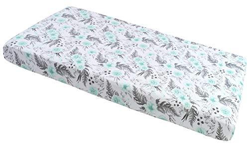 Spannbettlaken Spannbetttuch 60x120cm 100% Baumwolle Baby Bettwäsche Medi Partners Babymatratze schlafsack Kinderbett Babybett (graue Blumen)