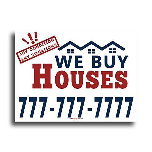VIBE INK Custom We Buy Houses Any Condition Any Situations - 24x18 Large - Customized Bandit Signs for Real Estate Investing - 2 Colors, Double-Sided Print - Waterproof Plastic, Made in America! (50)