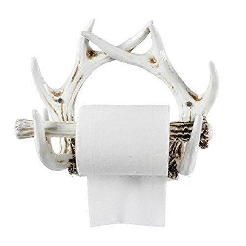 LLDS Faux Buckhorn Wall Mount Resin Bathroom Bedroom Pendant Paper Towel Holder Animal Taxidermy Sculpture Mobile Phone Rack (Color : White)