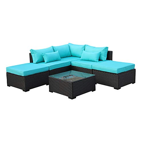 Rattaner Outdoor Wicker Sofa Set- 6 Piece Patio Garden Sectional PE Rattan Furniture with Turquoise Cushion