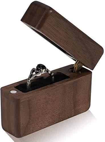 YYQLLXH Caja de anillo de propuesta, caja de anillo de compromiso de boda, caja de joyería de caja minimalista portátil vintage de madera maciza