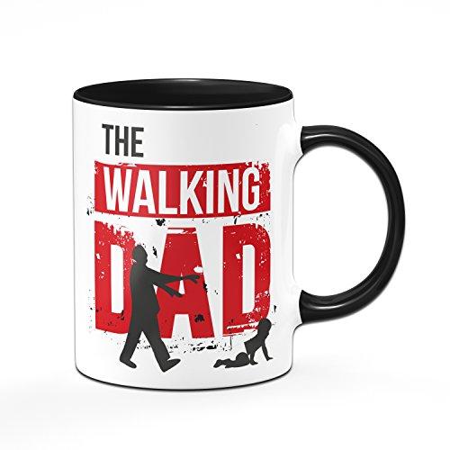 Tassenbrennerei The Walking DAD Tasse mit Spruch - Kaffetasse beidseitig Bedruckt - Geschenk für Papa werdender Vater - schwarz/rot