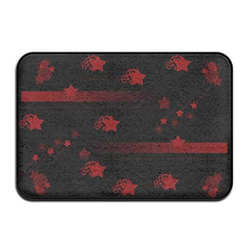 Novelcustom Red Black Star Indoor Outdoor Doormats Super Absorbs Mud Dirt Easy Clean Cute Cat Floor Rug Door Mats 15.7\
