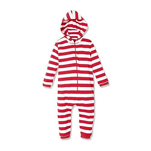 SDLRYF Cosplay Weihnachten Rot Gestreiften Santa Schlafanzug Familie Kleidung Elternteil - Kind Erwachsene Kinder Kapuzen Overalls Schlafanzüge
