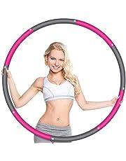 Wanap Fitness hoepel voor volwassenen, 1 kg, 8 delen breed, 95 cm, hoepel voor kinderen, beginners, perfect roestvrij staal, fitnesshoepel met mini-bandmaat