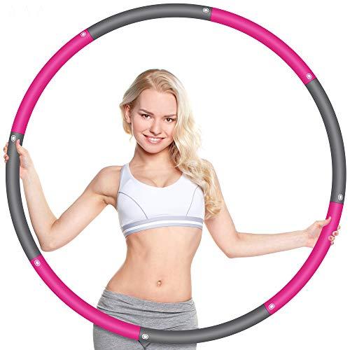 Wanap Fitness Reifen Hoop Erwachsene 1 kg, 8 Teile Breit 95cm Reifen Hoop Kinder Anfänger, Perfekt Edelstahl Fitnesshoop Fitness Hoop mit Mini Bandmaß(Grau Rosa)