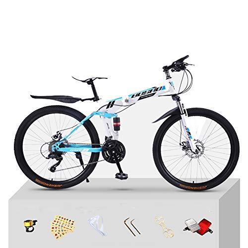 CJCJ-LOVE Kid Pliant De Vélo De Montagne, 20/24 Pouces Haute en Acier Au Carbone Choc Faire du Vélo, Vélos Frein Double Disque Route pour Adultes,White+Blue,20 inch+24 Speed
