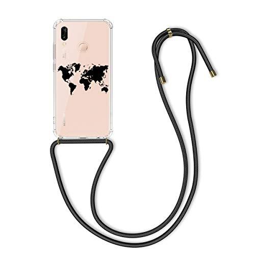 kwmobile Hülle kompatibel mit Huawei P20 Lite - mit Kordel zum Umhängen - Silikon Handy Schutzhülle Travel Umriss Schwarz Transparent