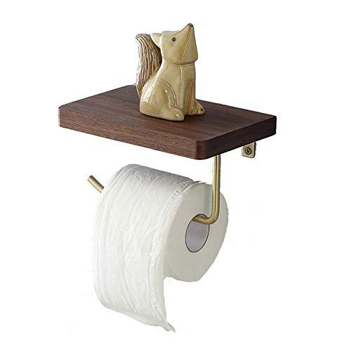 Väggmonterat Rack Kreativt Gratis Stansning Badrum Massivt Trä Mässing Toalettpappershållare Storlek 20cm12cm17cm Pappershandduksställ Rackt Bekvämt Gods