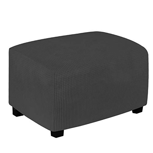 Easy-Going Stretch Ottoman Cover Folding Storage Stool Furniture Protector Soft Rectangle slipcover with Elastic Bottom(Ottoman Small,Dark Gray)
