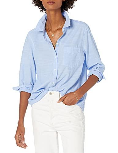 Amazon Brand - Goodthreads Women's Washed Cotton Boyfriend Shirt, Blue Cross Dye,Small