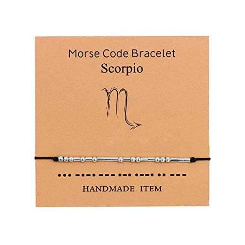Morse Code Bracelet,Constellations Zodiac Sign Bracelet for Women Girls Bracelet,Adjustable Wax Rope for Women Gold Plated Horoscope Sign Necklaces and Bracelet Constellation Set Gifts(Scorpio)
