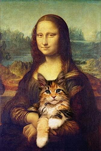 ThinkingPower Stampa su Tela Canvas Lustige Kunst Mona Lisa, Die an der Wand hält Kunstposter und Drucke da Vinci berühmte Kunstbilder 60x90cm