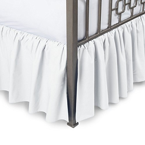 British Choice Linen Frilled Valance sheet (35) CM Pocket Drop Bed Wrap with Platform split corners ruffle bed skirt Easy Fit over Mattress (Double size Bed Fitted Valance Sheet White)