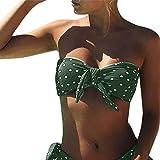 Tuopuda Costumi da Bagno Donna Bikini Set DOT Printing Costume da Bagno Due Pezzi Capestro Bikini Push Up Imbottito Costumi da Mare Senza Spalline a Pois Spiaggia Bandeau