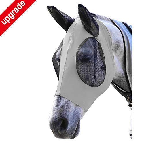 Horse Fly Mask, Fly Mask with Nose and Ears - Mesh Mask Effectively Protects The Horse from Sandstorms, Avoids Direct Light While Allowing Full Visibility (Grey)