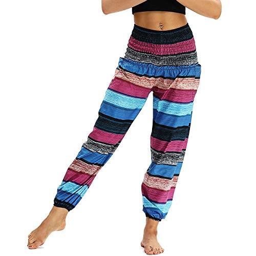 Nuofengkudu Mujer Pantalones Harem Tailandes Hippies Vintage Boho Flores Verano Alta Cintura Elastica Casual Danza Yoga Pants Bombachos Raya A