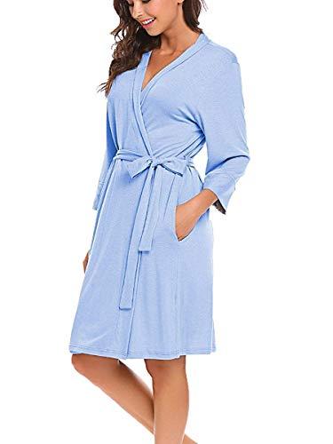 Morgenmantel Damen 3/4 Ärmel Nachtwäsche Bademantel Kimono Frauen Schlafanzug Schlafkleid Bademantel Hellblau M